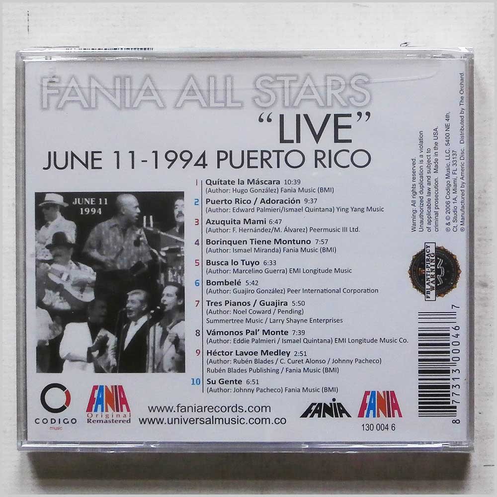 Fania All Stars - June 11, 1994 Live in Puerto Rico (130 046-2)