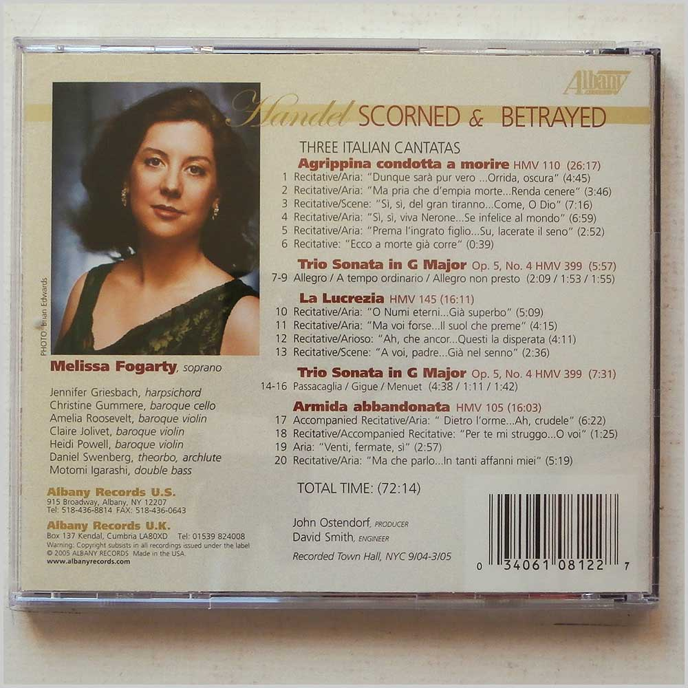 Melissa Fogarty - George Frideric Handel: Scorned and Betrayed, Three Italian Cantatas (34061081227)