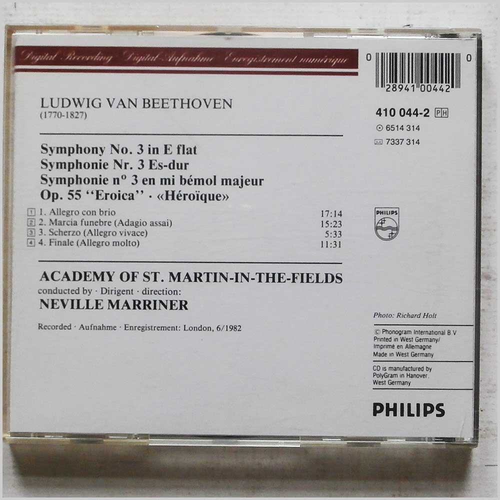Neville Marriner, St. Martin-In-The-Fields - Beethoven: Symphony No.3 Eroica (410 044-2)