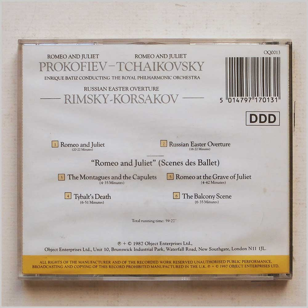 Enrique Batiz, The Royal Philharminc Orchestra - Prokofiev-Tchaikovsky: Romeo and Juliet, Rimsky-Korsakov: Russian Easter Overture (5014797170131)