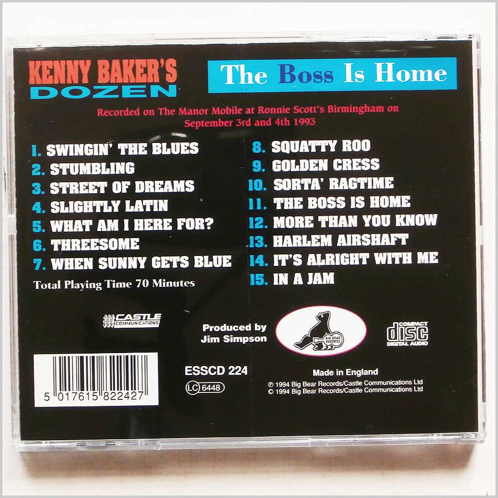 Kenny Baker's Dozen - The Boss Is Home (5017615822427)