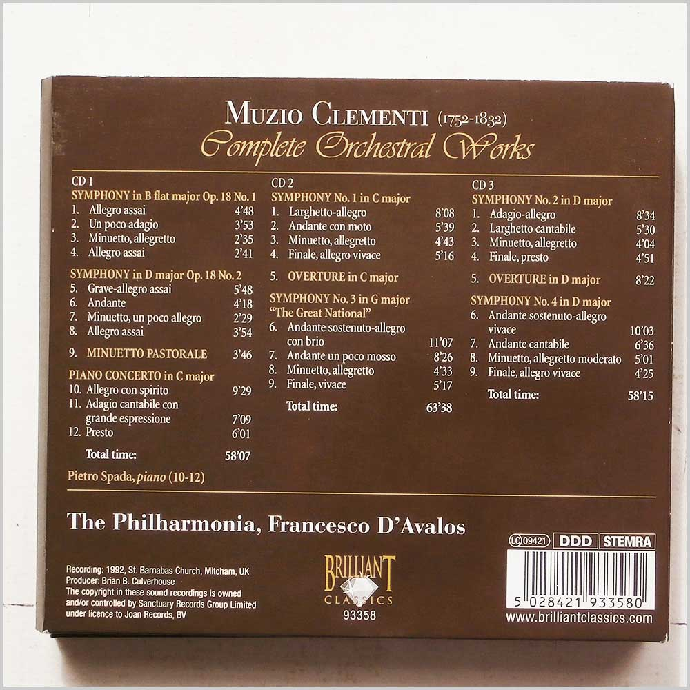 Francesco D'Avalos, The Philharmonia Orchestra - Muzio Clementi: Complete Orchestral Works (5028421933580)