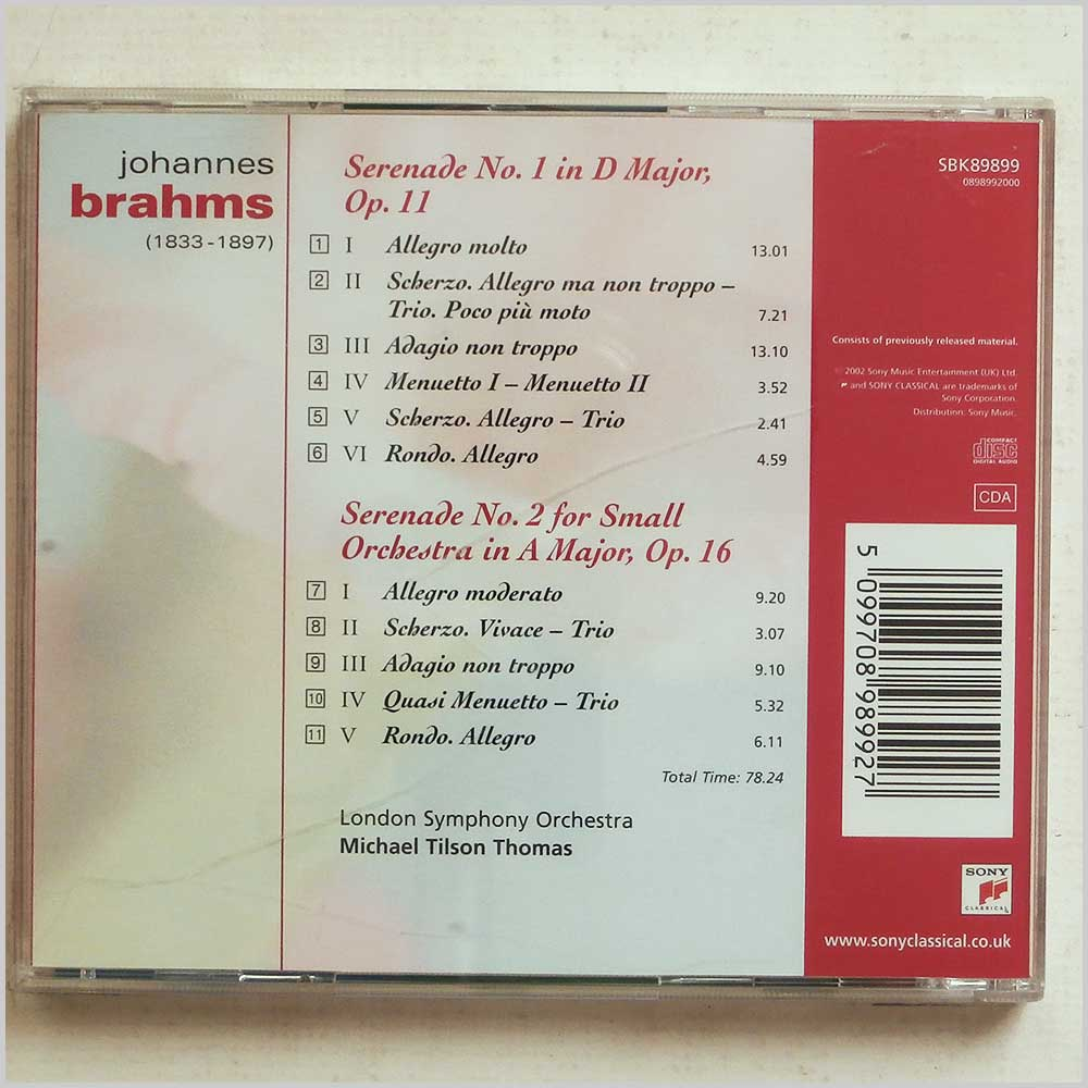 Michael Tilson Thomas and London Symphony Orchestra - Brahms: Serenade No. 1 and 2 (5099708989927)