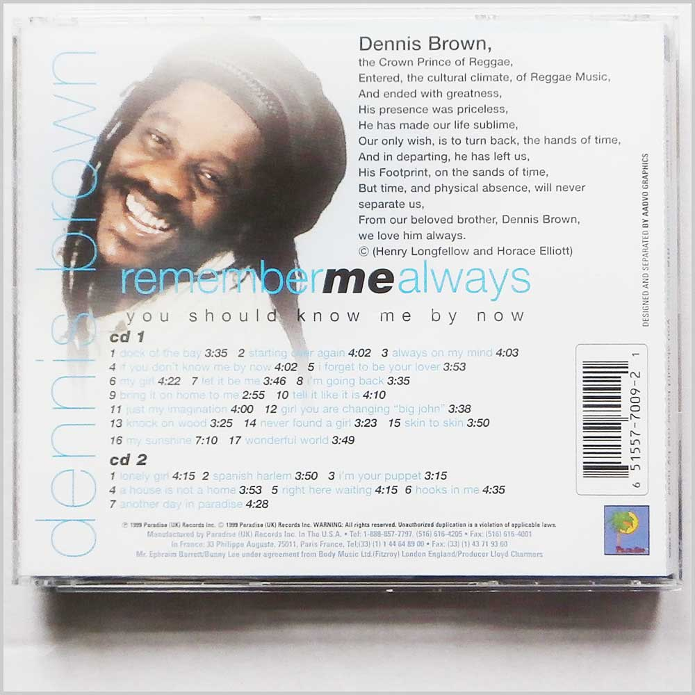 Dennis Brown - Remember Me Always You Should Know Me By Now (651557700921)