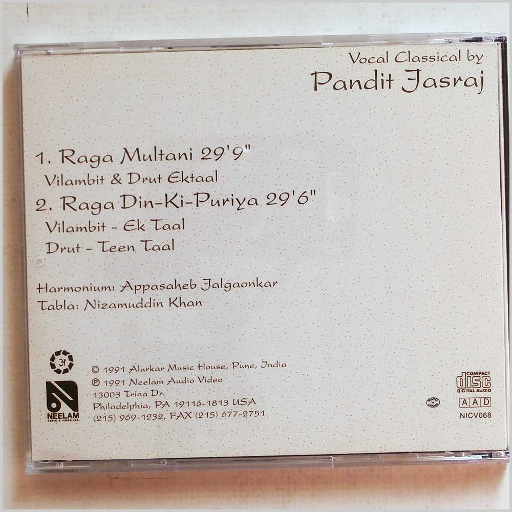 Pandit Jasraj - Multani and Din-Ki-Puriya Vocal Classical (689279406098)