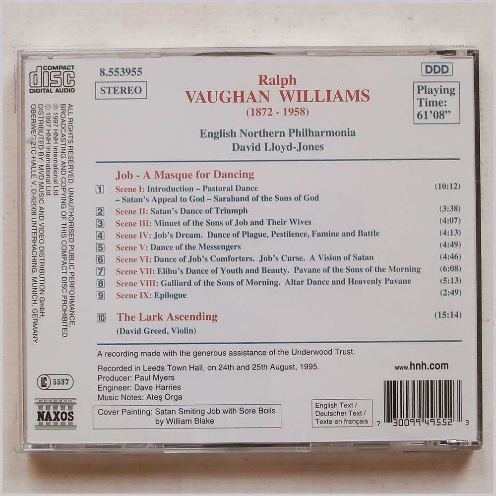 David Lloyd-Jones - Vaughan Williams: Job-A Masque for Dancing, The Lark Ascending (730099495523)