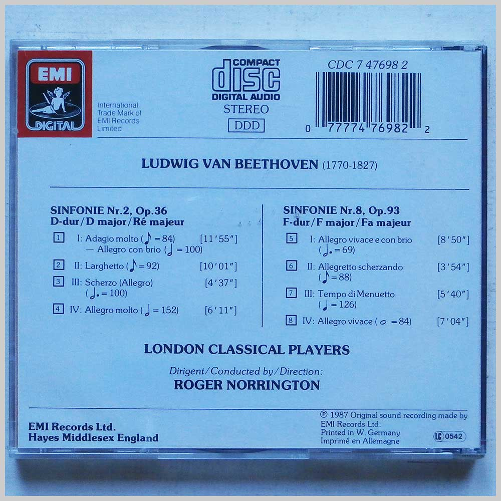 Roger Norrington, The London Classical Players - Ludwig van Beethoven: Symphony 2 and 8 (77774769822)