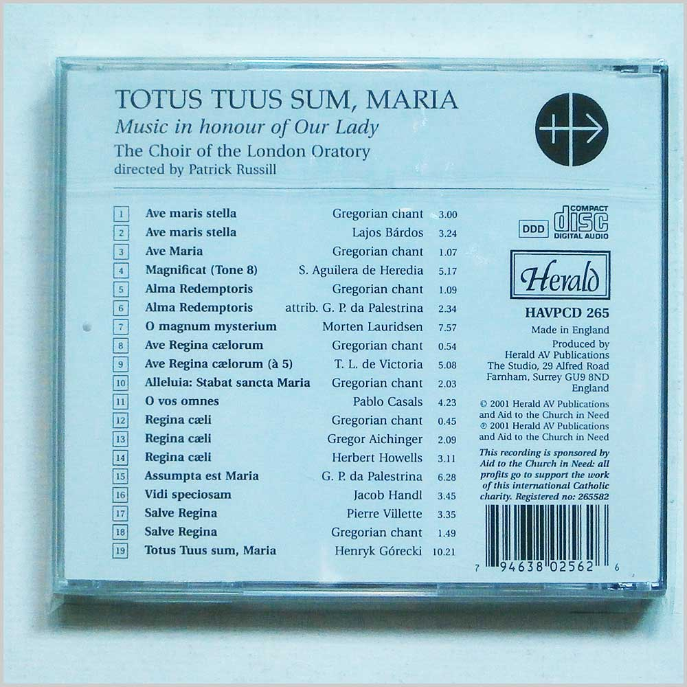 Patrick Russill and The Choir of the London Oratory - Totus Tuus Sum, Maria: In Honour of Our Lady (794638025626)