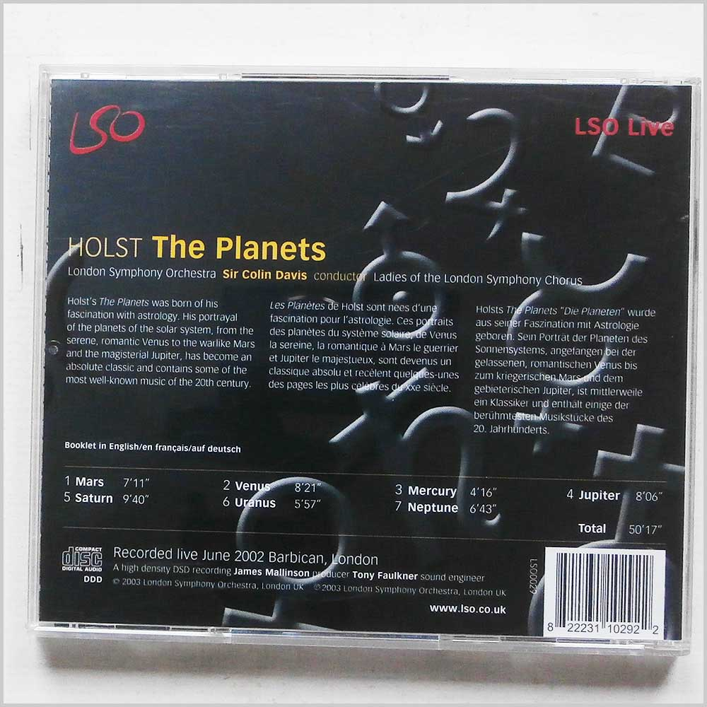 Colin Davis, London Symphony Orchestra - Holst: The Planets (822231102922)