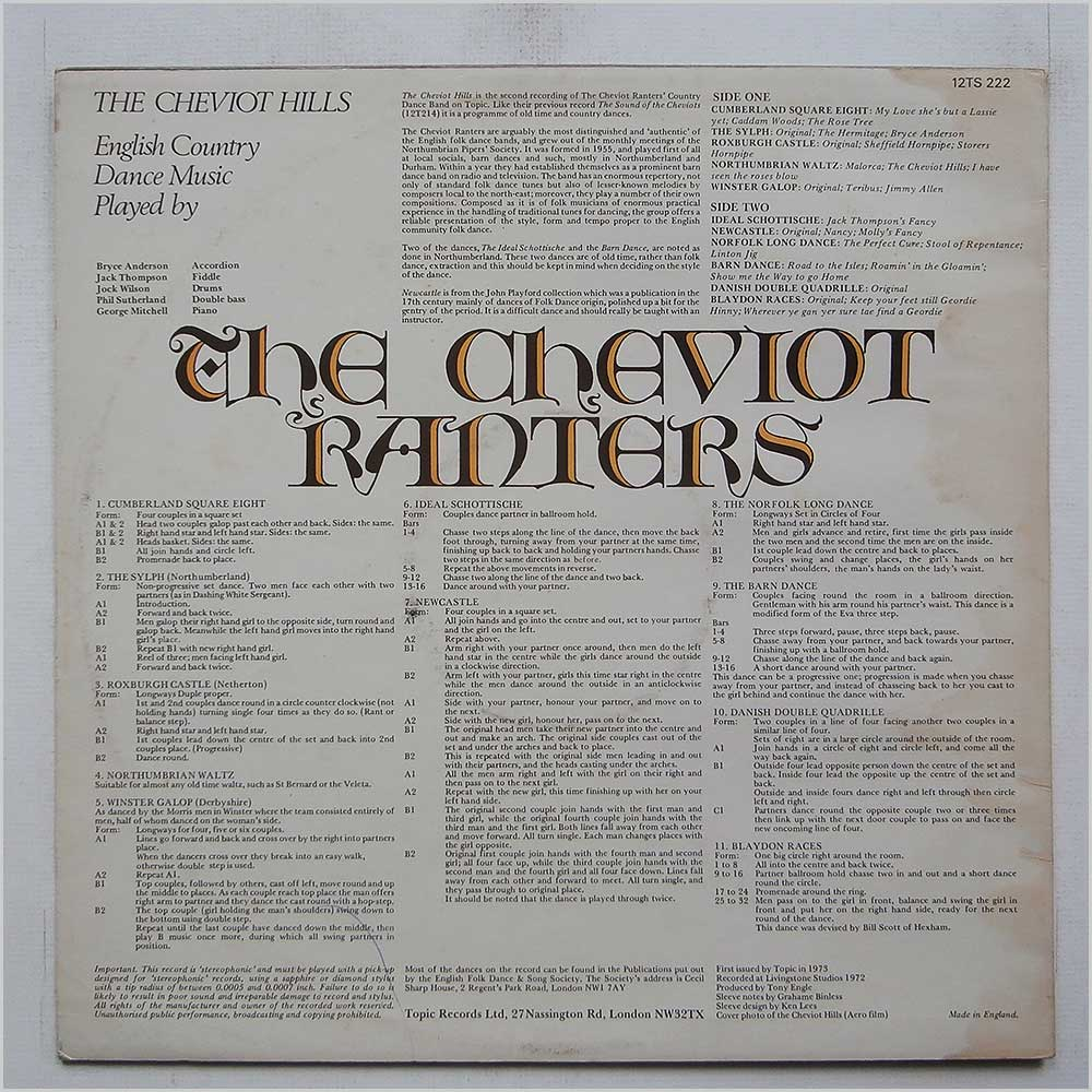 The Cheviot Ranters' Country Dance Band - The Cheviot Hills (12TS 222)