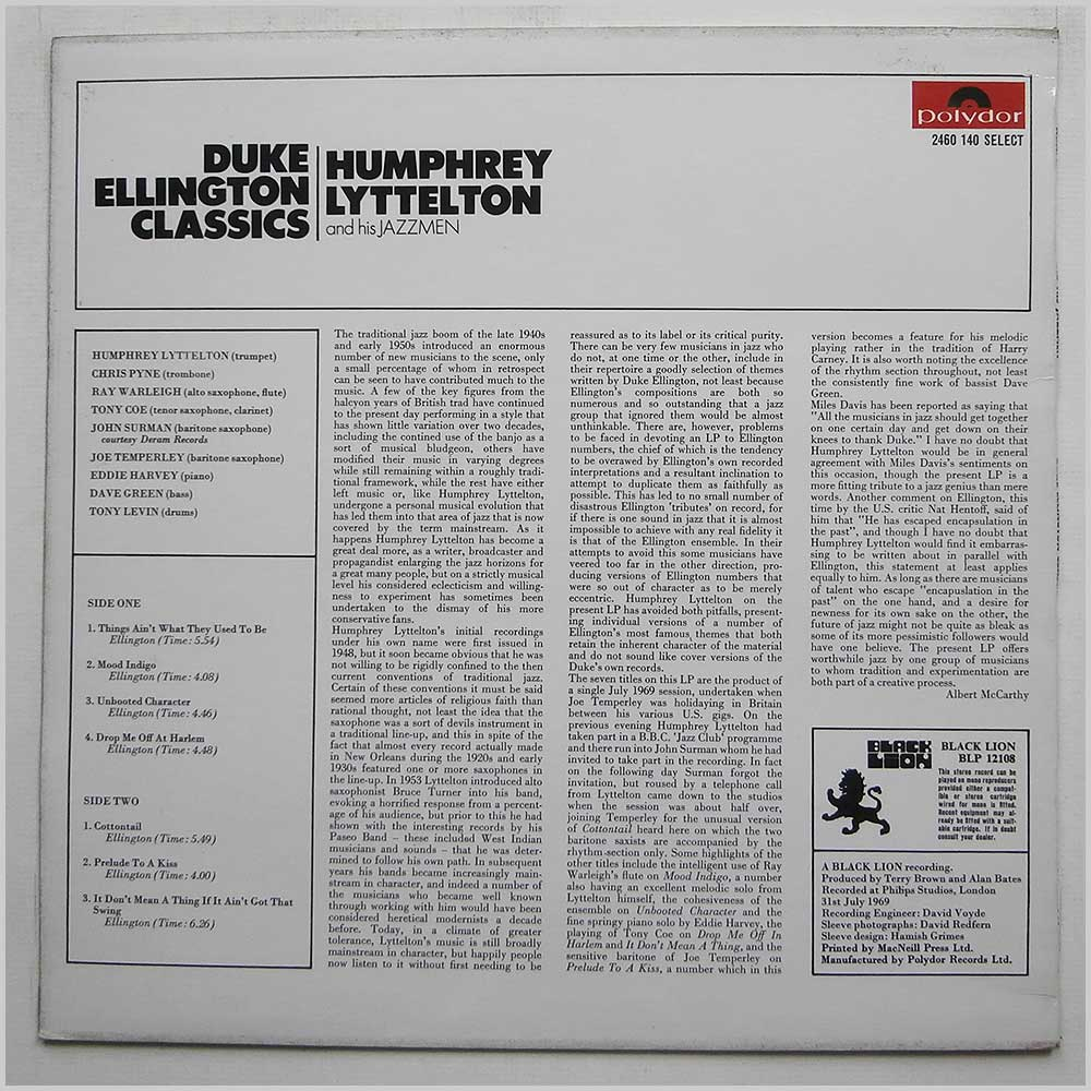 Humphrey Lyttelton and his Jazzmen - Duke Ellington Classics (2460 140)