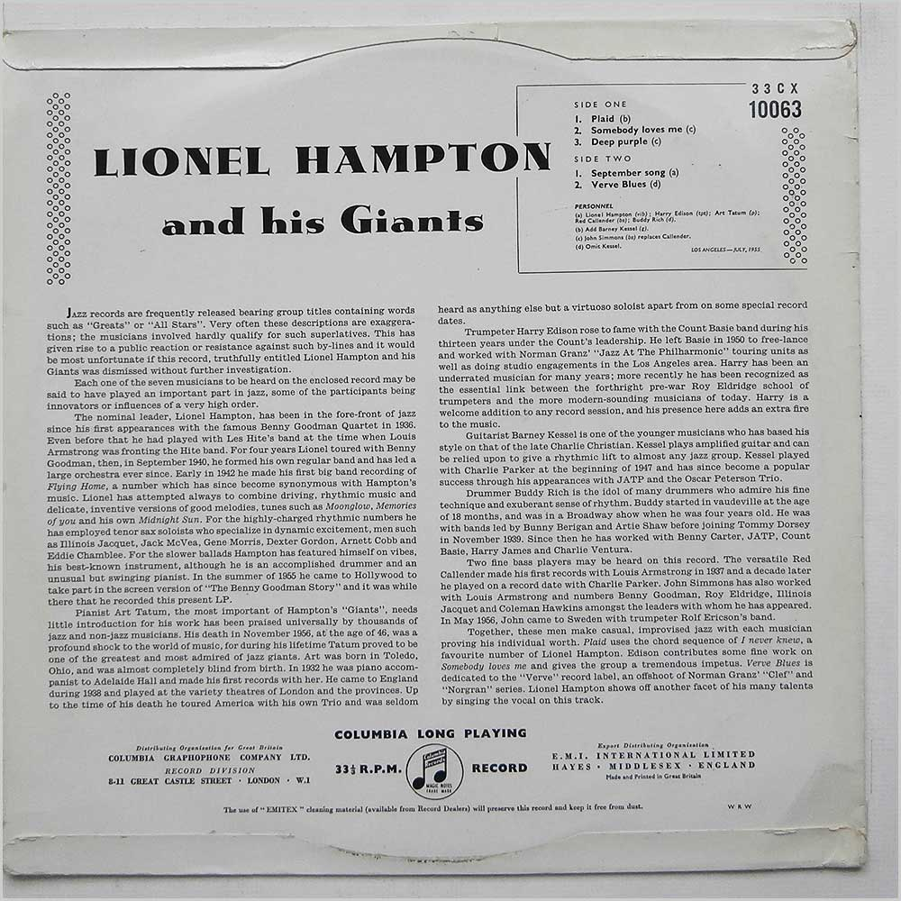 Lionel Hampton - Lionel Hampton And His Giants (33CX 10063)