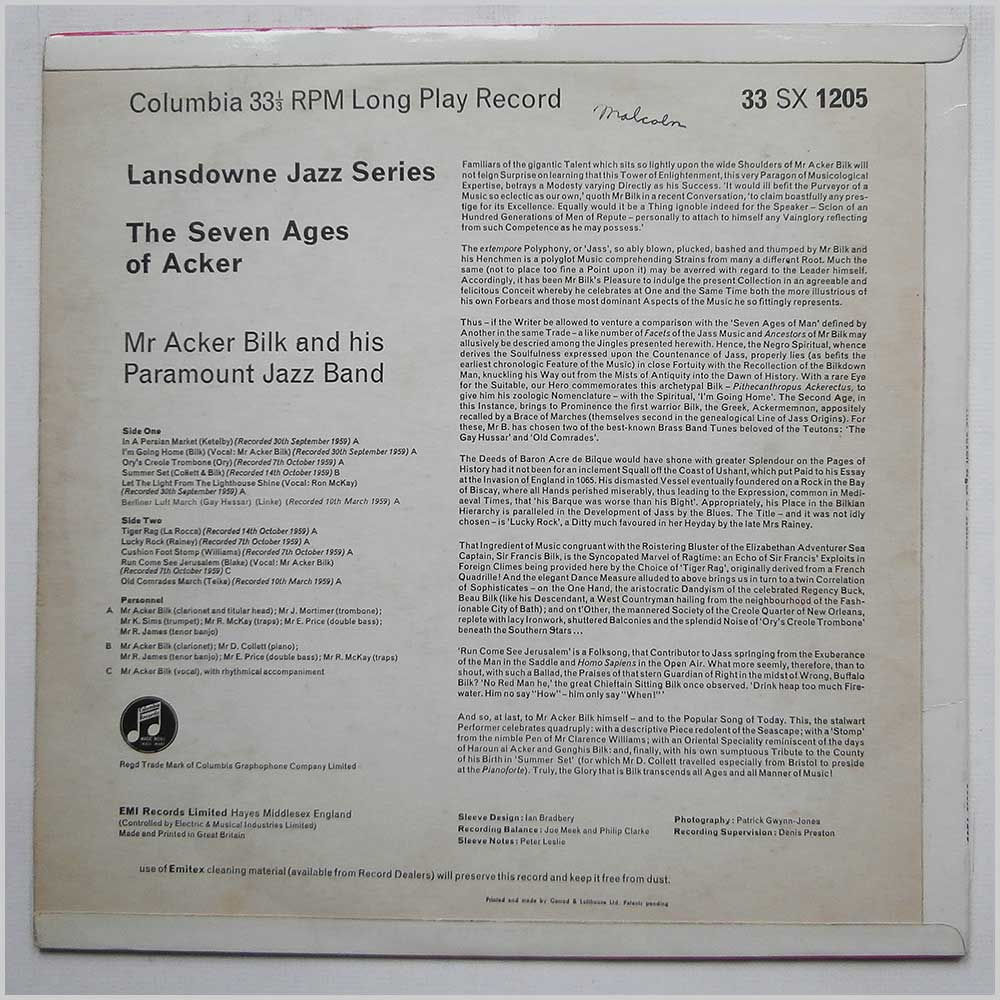 Acker Bilk - The Seven Ages Of Acker (33SX 1205)