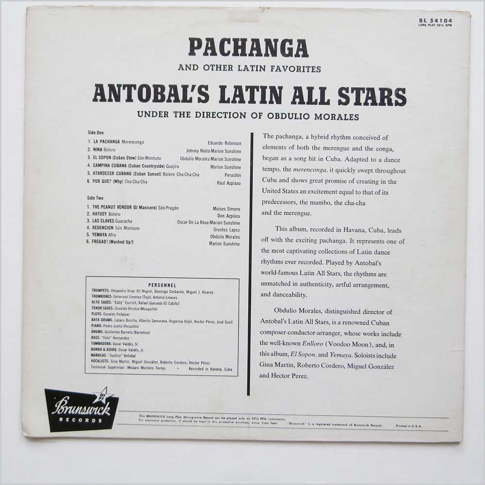 Antobal's Cuban All-Stars - Pachanga And Other Latin Favourites (BL 54104)