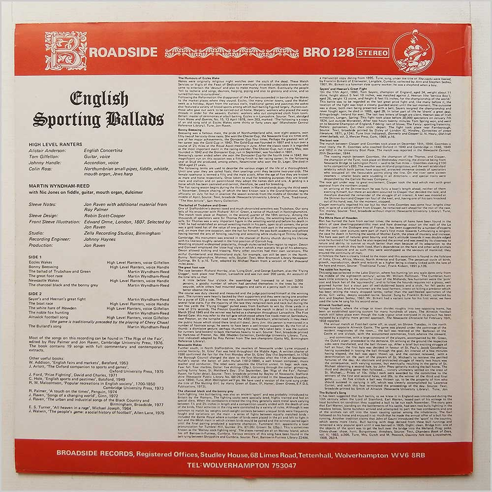The High Level Ranters and Martyn Wyndham Reed - English Sporting Ballads (BRO 128)