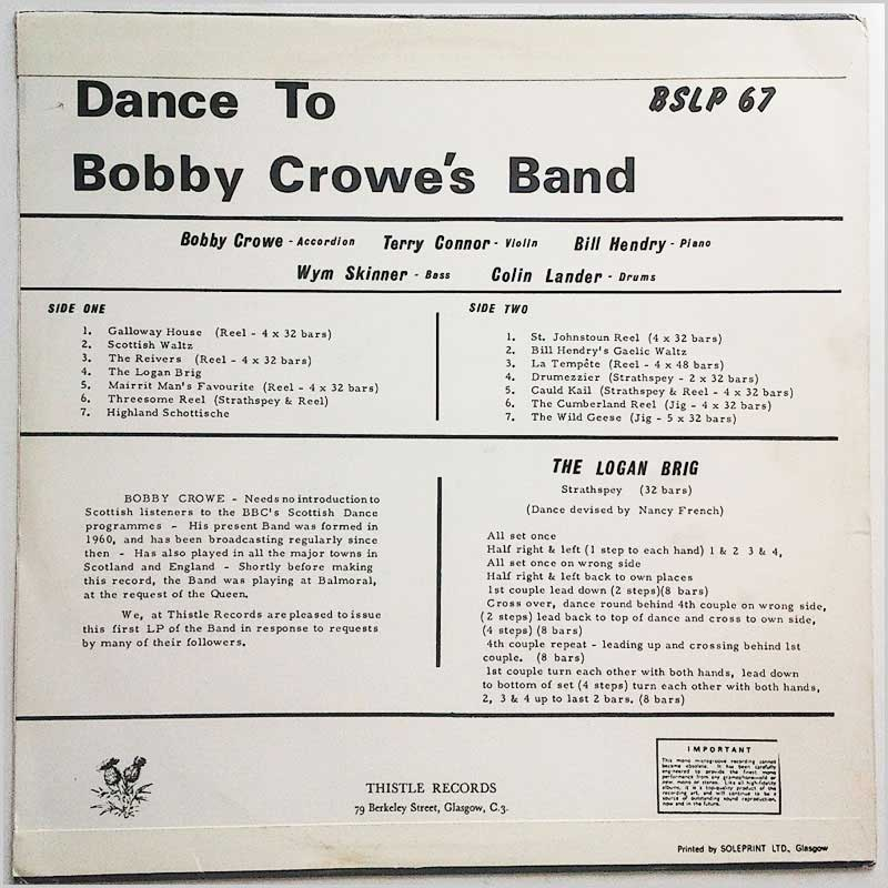 Bobby Crowe's Band - Dance to Bobby Crowe's Band (BSLP 67)