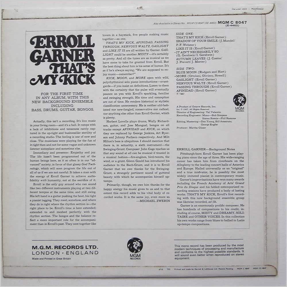 Erroll Garner - That's My Kick (C 8047)
