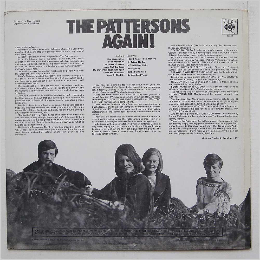 The Pattersons - The Pattersons Again (CBS 63532)
