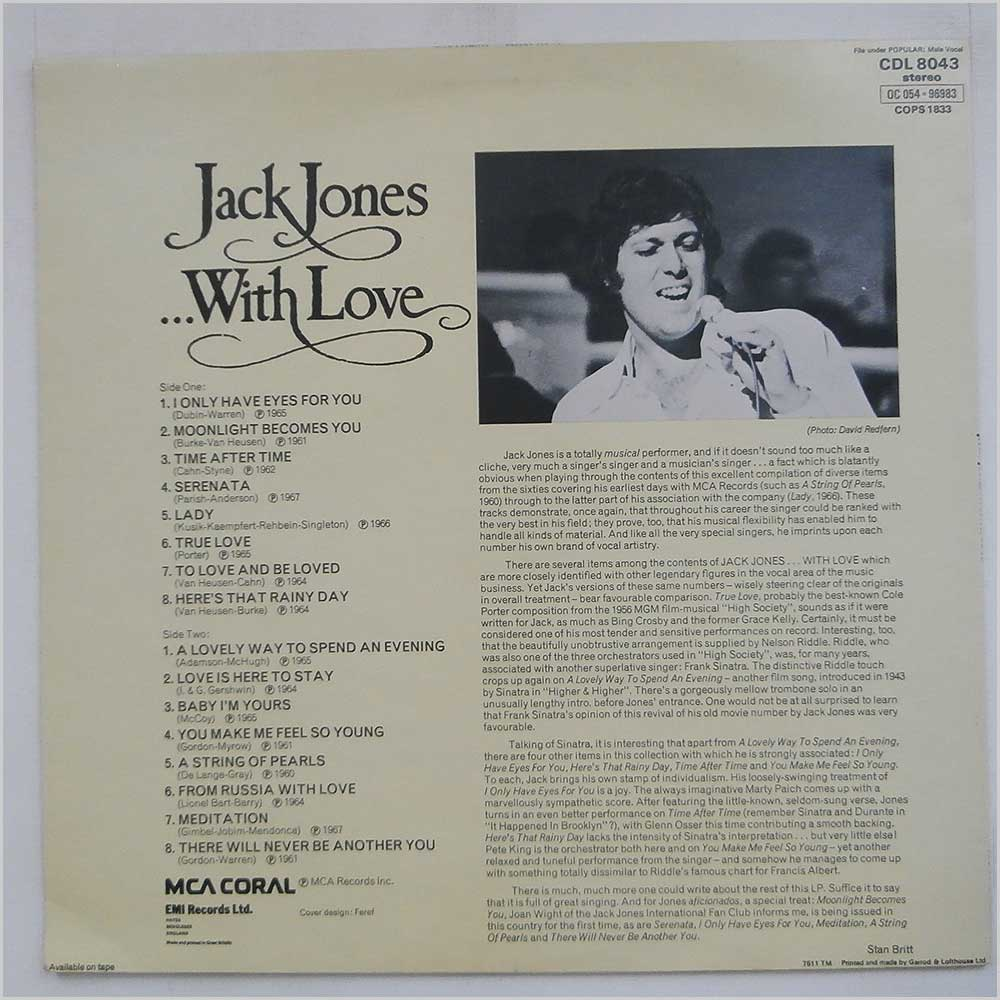 Jack Jones - Jack Jones With Love (CDL 8043)