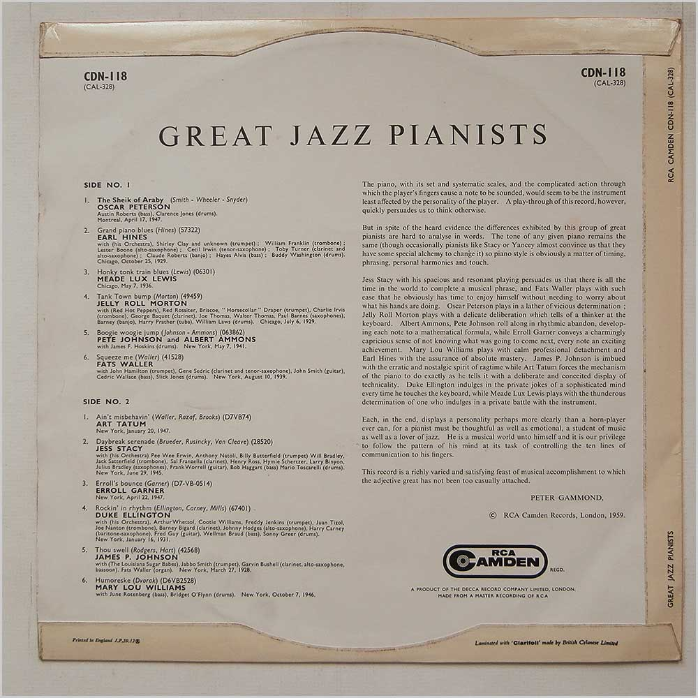 Various - Great Jazz Pianists (CDN-118)