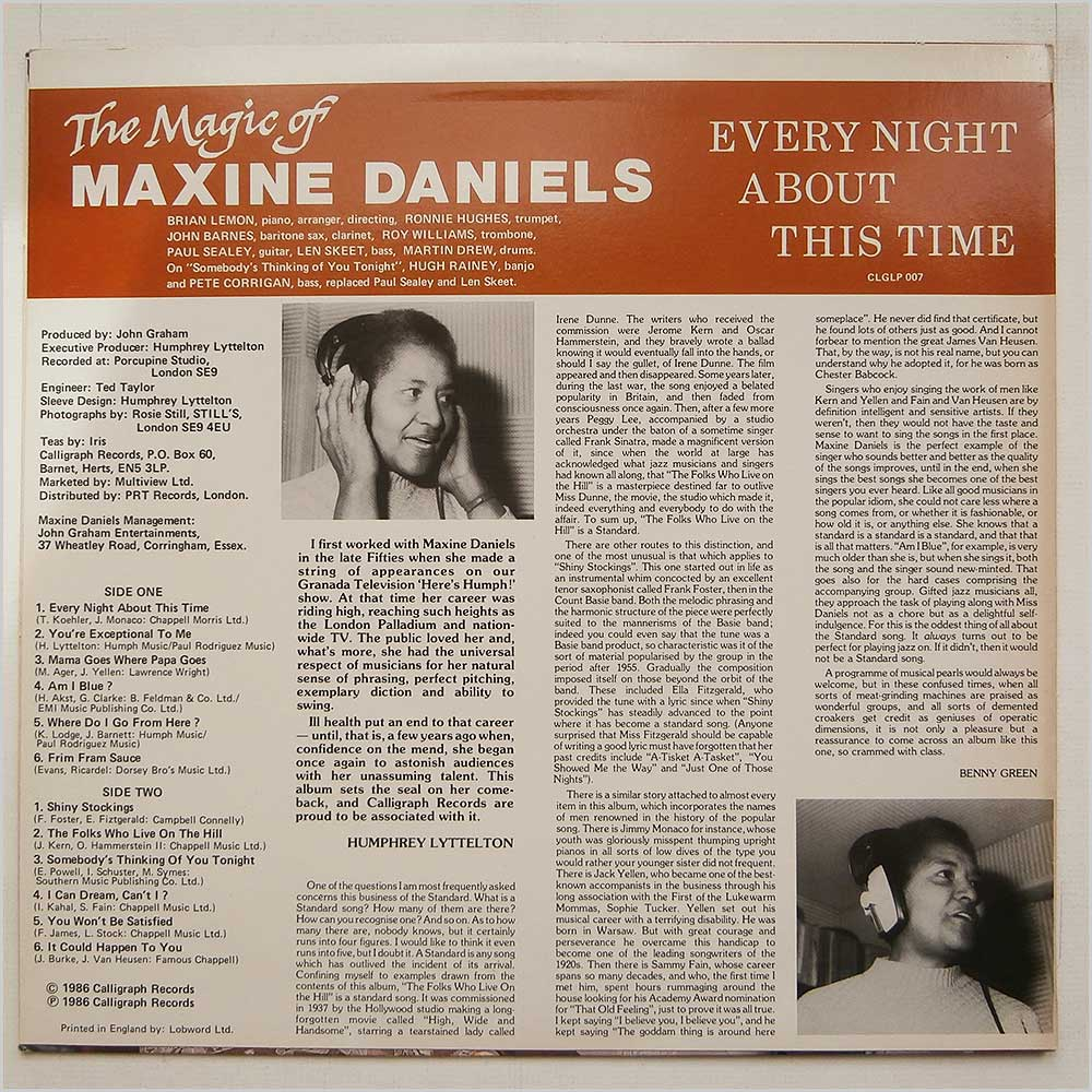 Maxine Daniels - Every Night About This Time (CGLP 007)