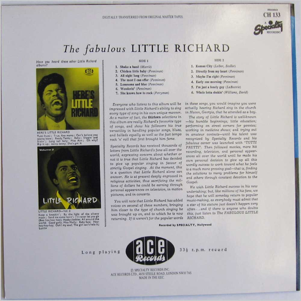 Little Richard - The Fabulous Little Richard (CH 133)