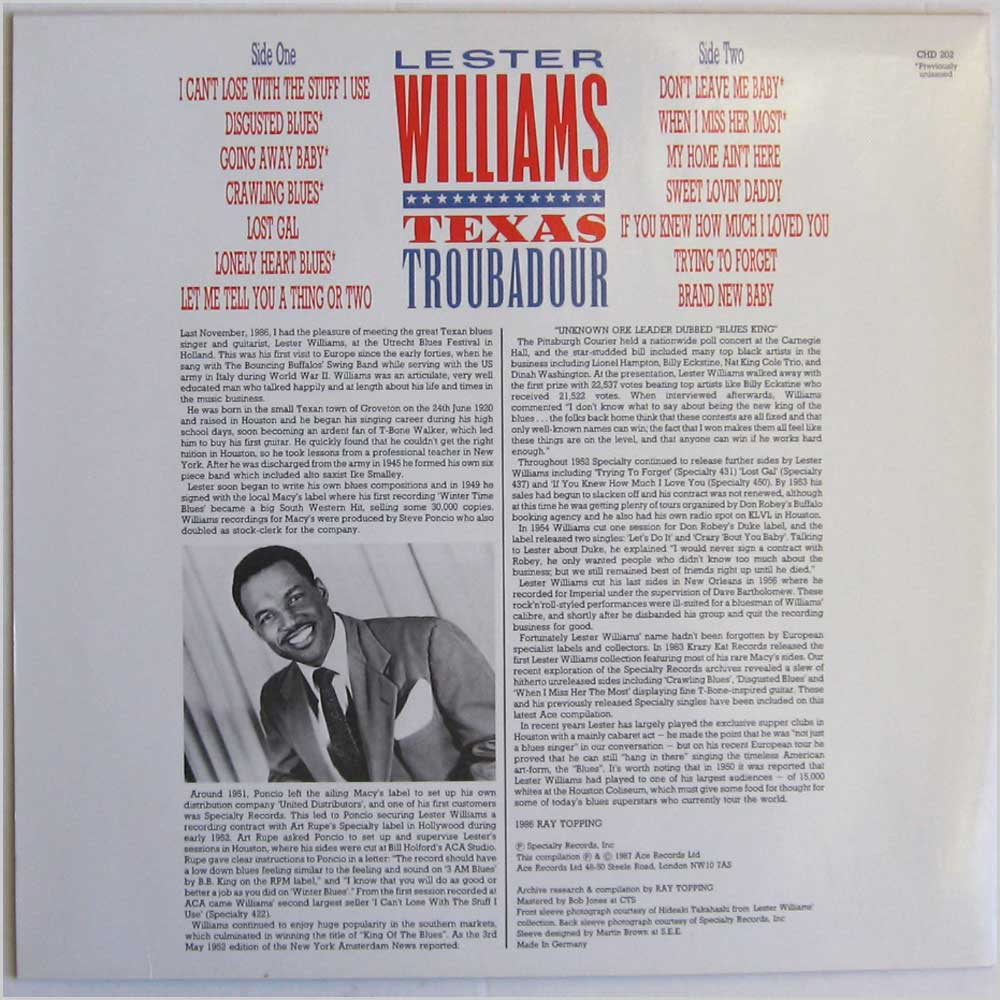 Lester Williams - Texas Troubadour (CHD 202)