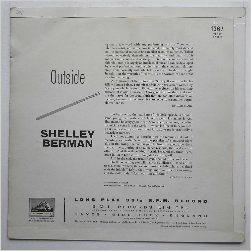 Shelley Berman - Outside Shelley Berman (CLP 1367)