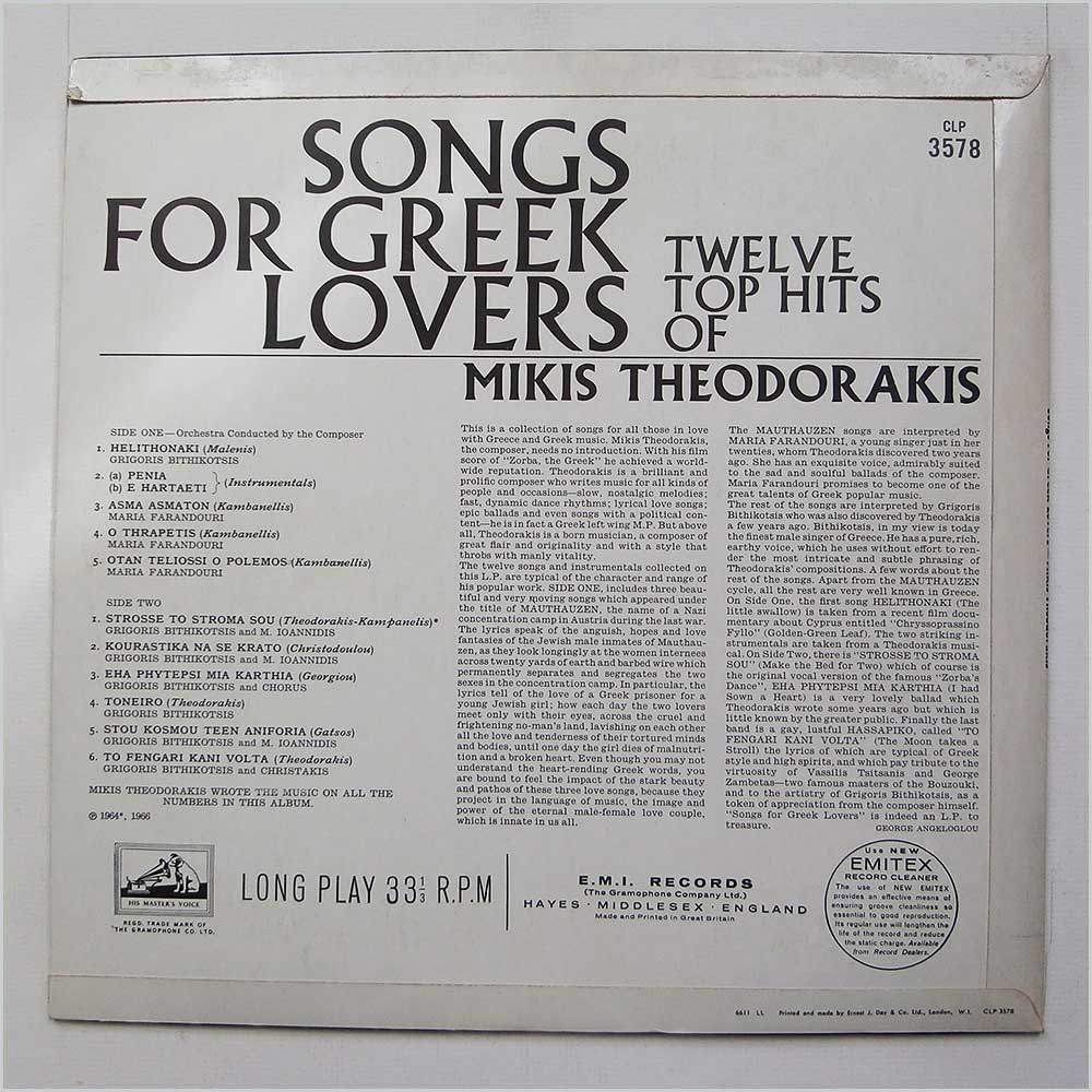 Mikis Theodorakis - Songs For Greek Lovers (CLP 3578)