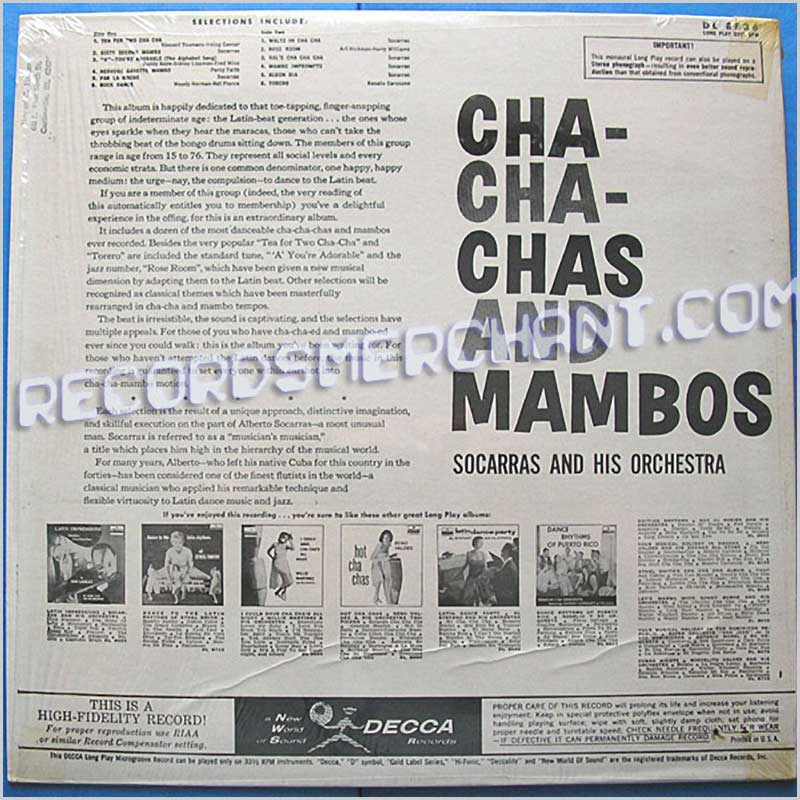 Socarras And His Orchestra - Cha Cha Chas and Mambos (DL8836)