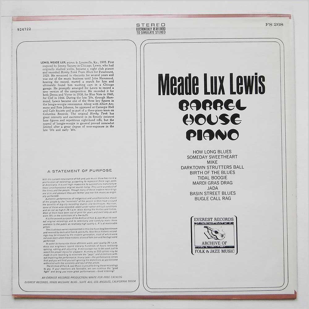 Meade Lux Lewis - Barrel-House Piano (FS 268)
