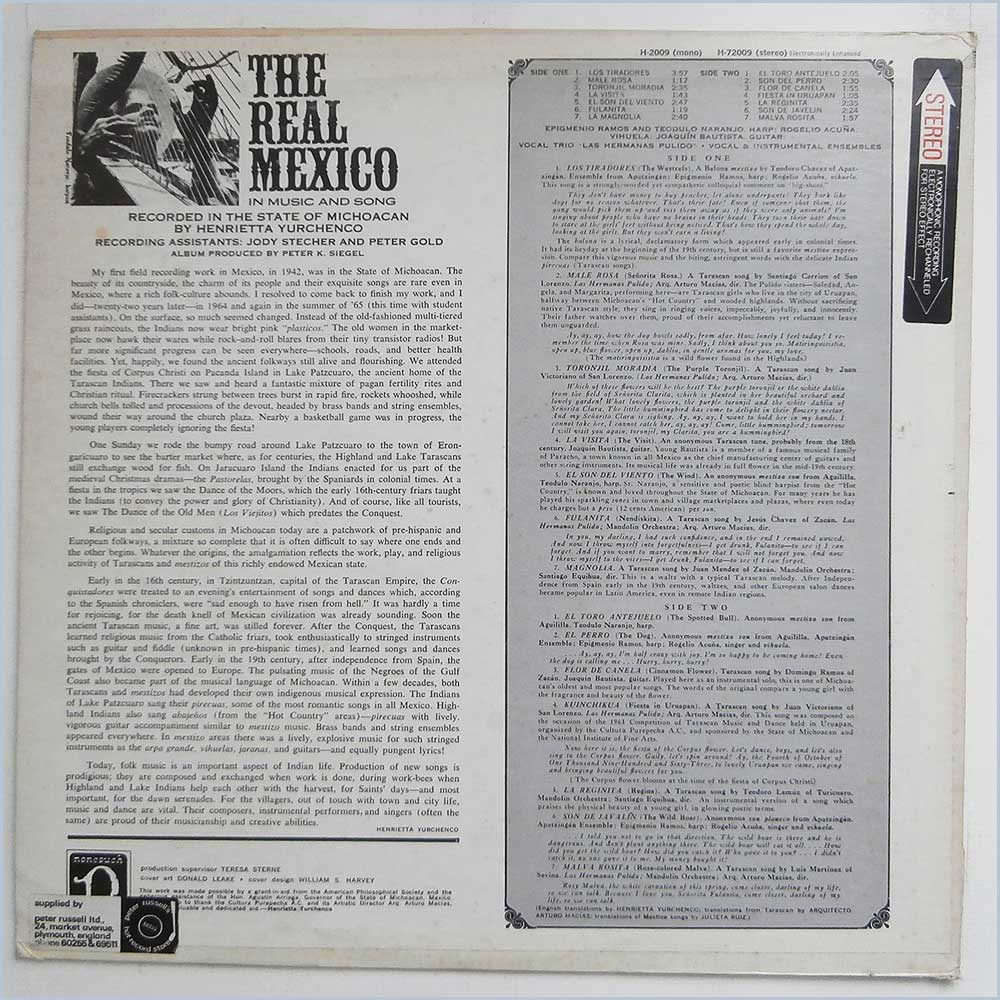 Henrietta Yurchenco - The Real Mexico In Music And Song (H-72009)