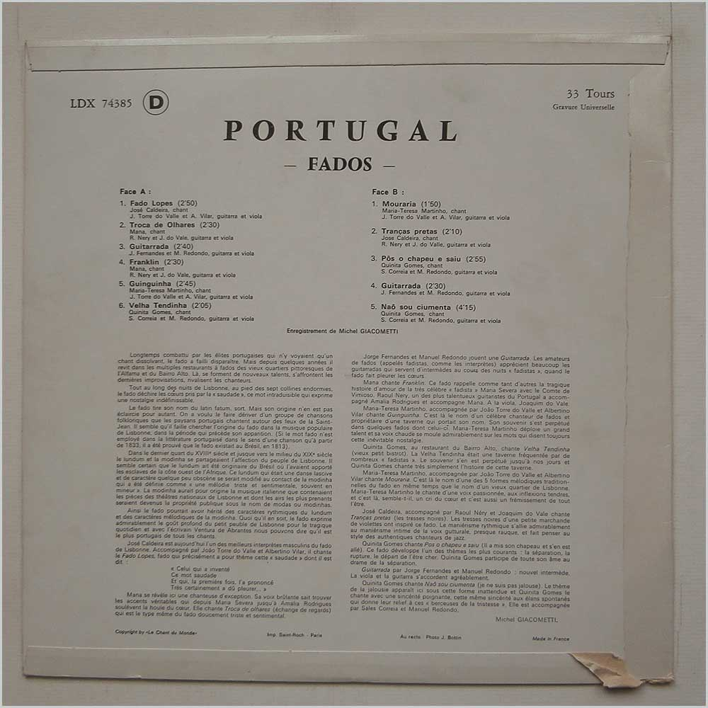 Various - Chants And Dances Portugal Fados (LDX 7 4385)