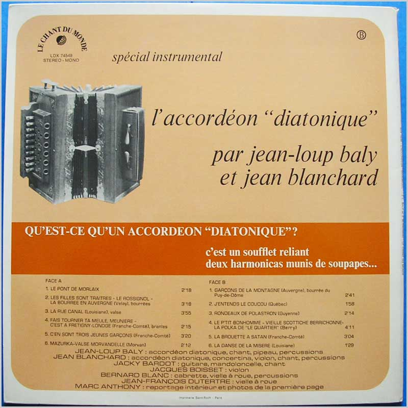 Jean-Loup Baly et Jean Blanchard - L'Accordeon Diatonique (LDX 74549)