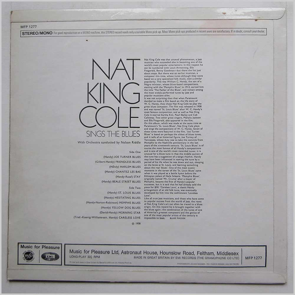 Nat King Cole - Nat King Cole: Sings The Blues (MFP 1277)