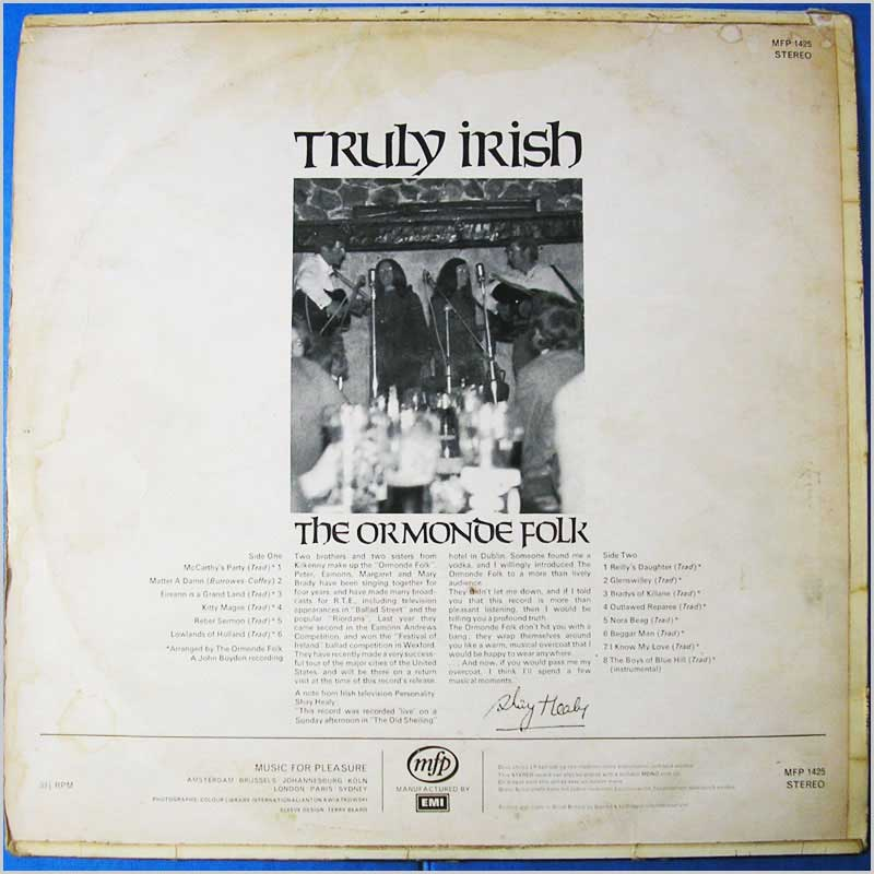 The Ormonde Folk - Truly Irish (MFP 1425)
