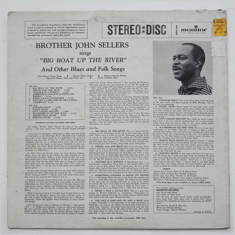 John Sellers - Brother John Sellers Sings Big Boat Up The River And Other Blues And Folk Songs (MPS-6002)