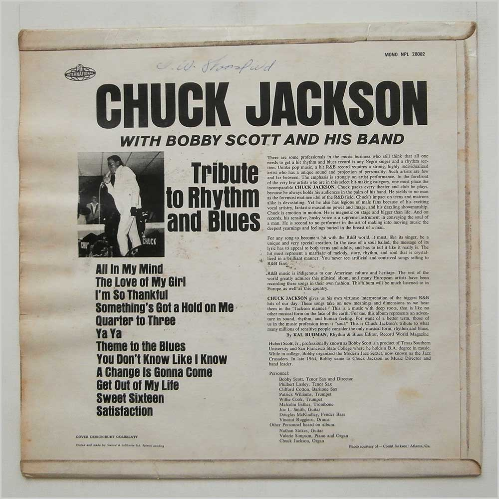 Chuck Jackson - Tribute To Rhythm And Blues (NPL 28082)