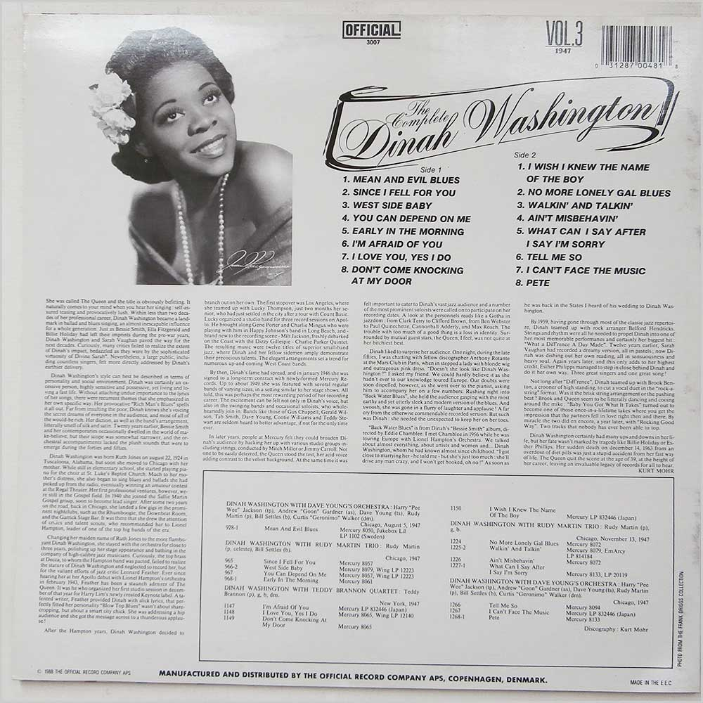 Dinah Washington - The Complete Volume 3 (OFFICIAL 3007)