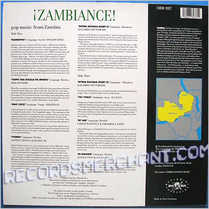 Various - Zambiance! Pop Music From Zambia (ORB 037)