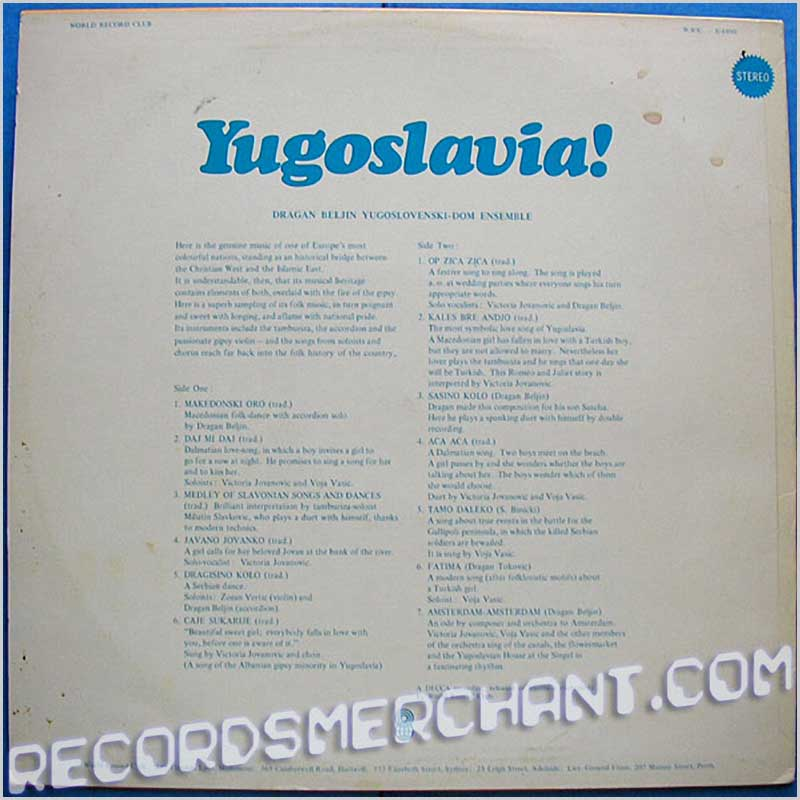 Dragan Beljin Ensemble - Yugoslavia! (S 4890)