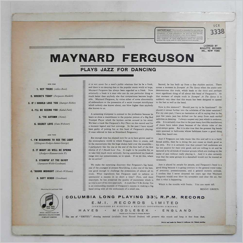 Maynard Ferguson - Maynard Ferguson Plays Jazz For Dancing (SCX 3338)