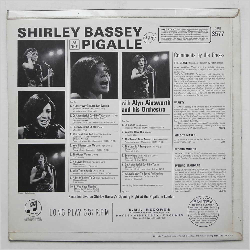Shirley Bassey - Shirley Bassey At The Pigalle (SCX 3577)