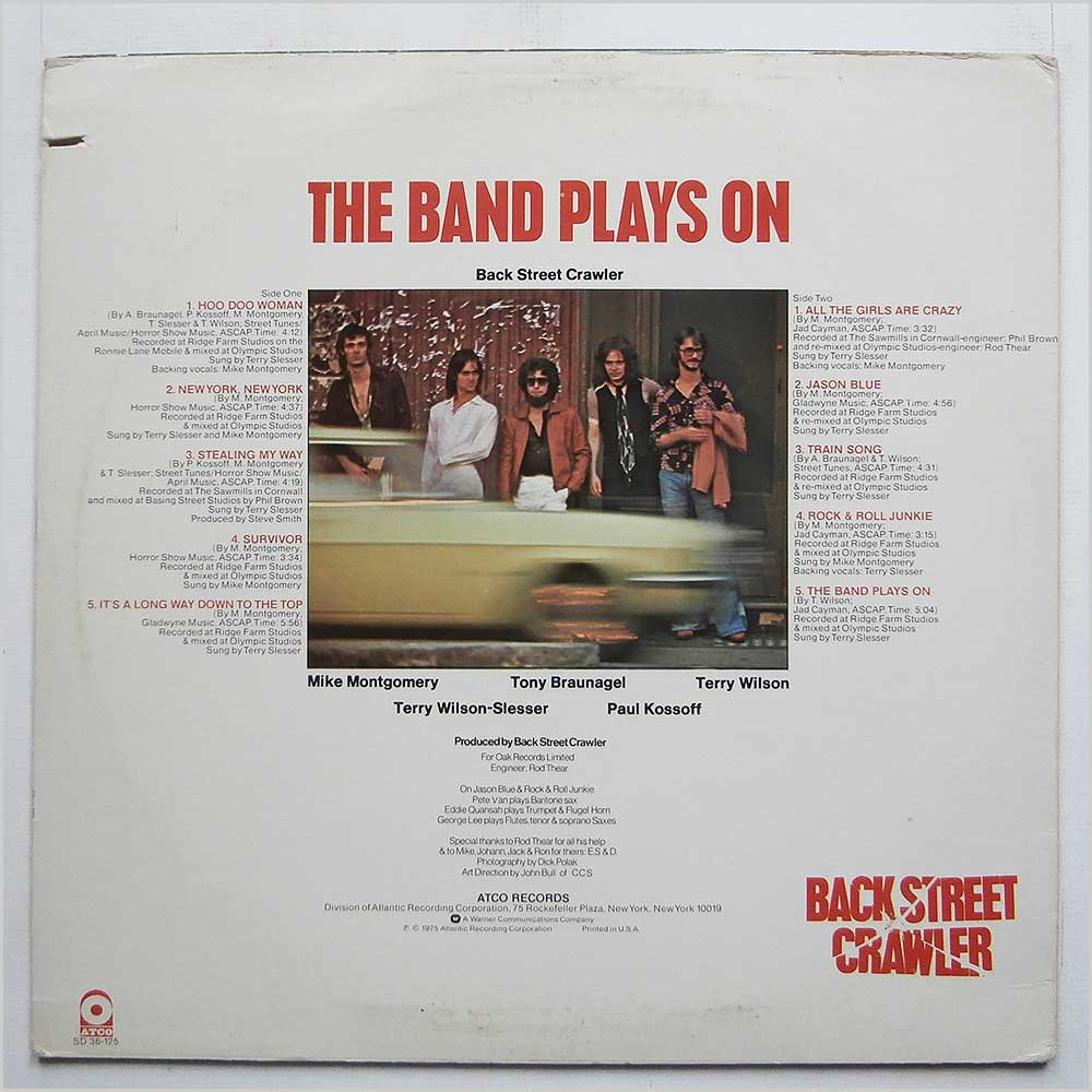 Back Street Crawler - The Band Plays On (SD 36-125)