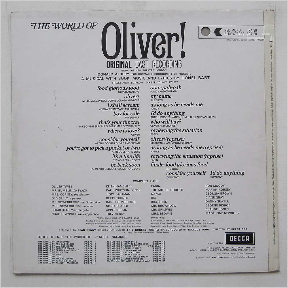 Lionel Bart - The World Of Oliver! Original Cast Recordings (SPA 30)
