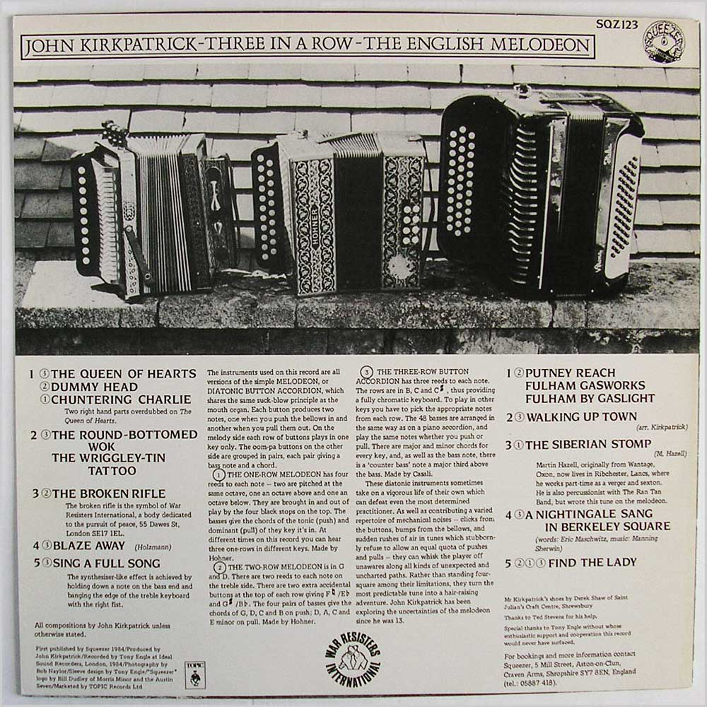 John Kirkpatrick - Three In A Row The English Melodeon (SQZ 123)