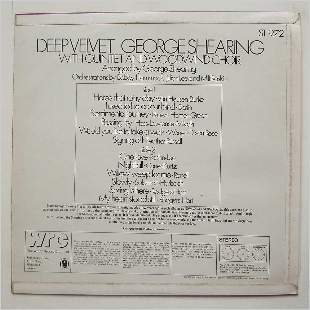 George Shearing - Deep Velvet (ST 972)