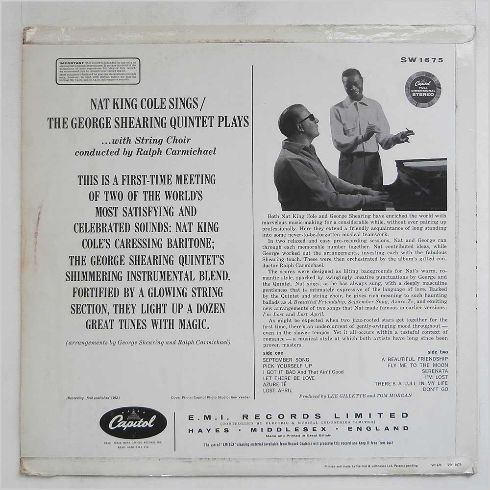 Nat King Cole and George Shearing - Nat King Cole Sings, George Shearing Plays (SW 1675)