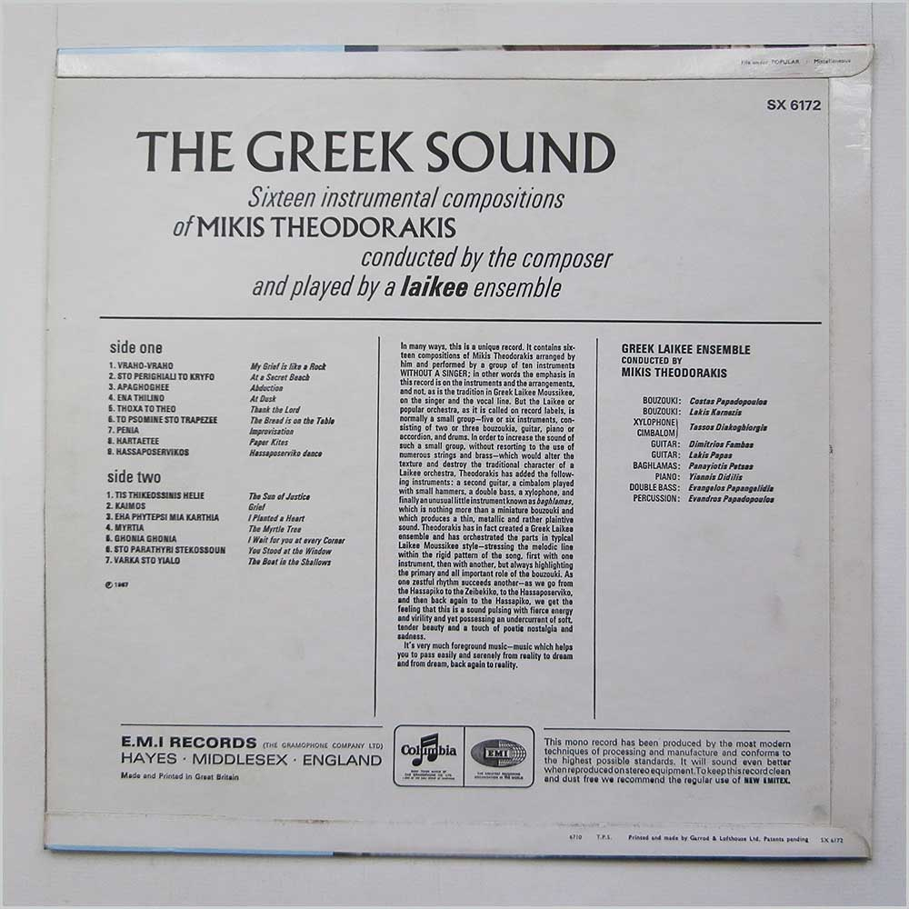 Mikis Theodorakis - The Greek Sound (SX 6172)