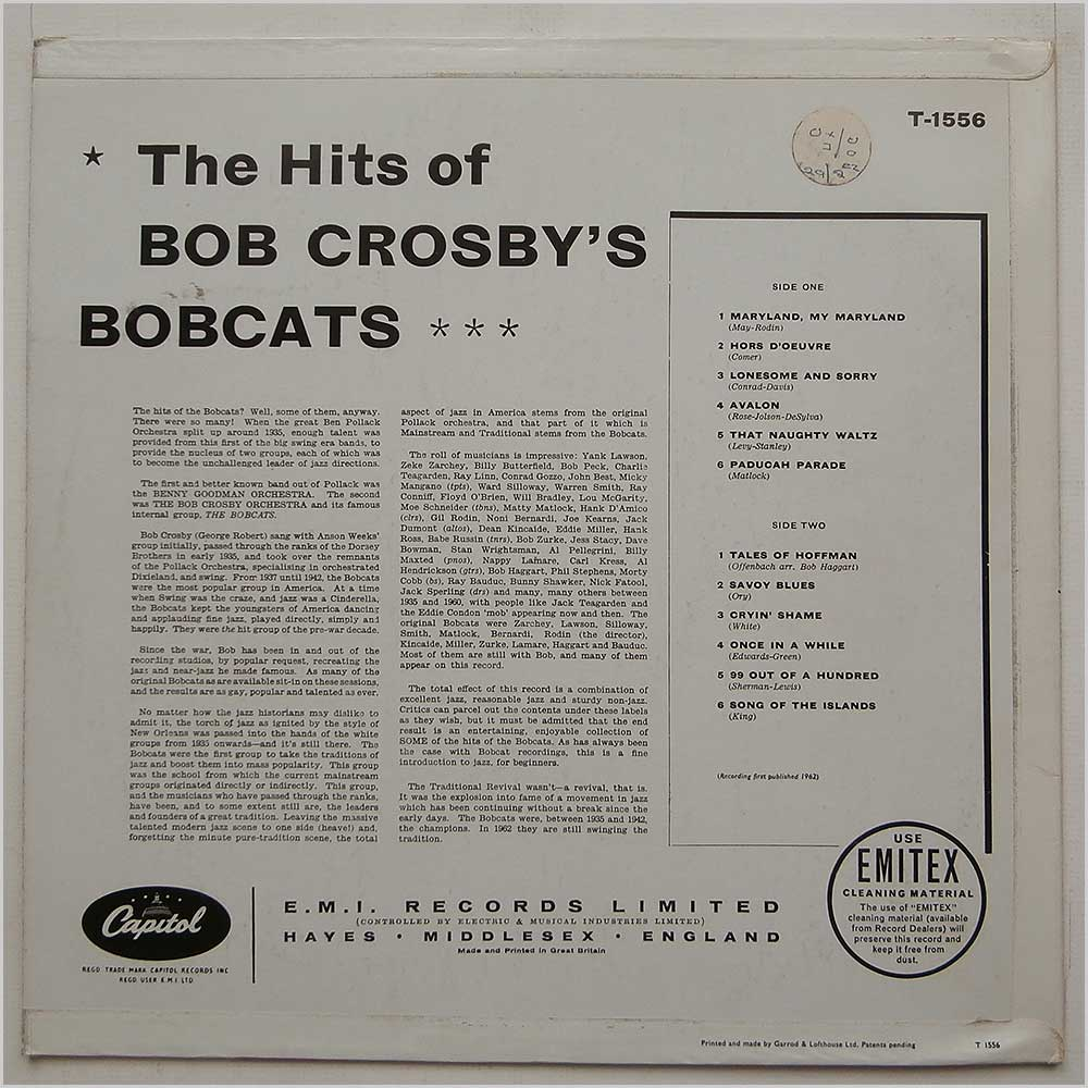 Bob Crosby's Bobcats - The Hits Of Bob Crosby's Bobcats (T-1556)